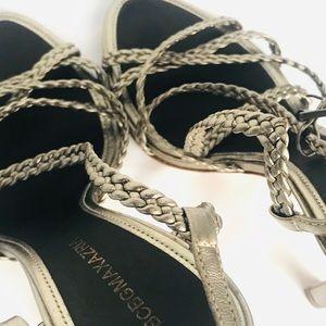 BCBGMAXAZRIA heel braided gold ankle strap 5.5